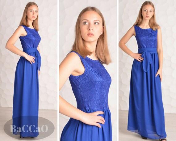 royal blau lange brautjungfer kleider