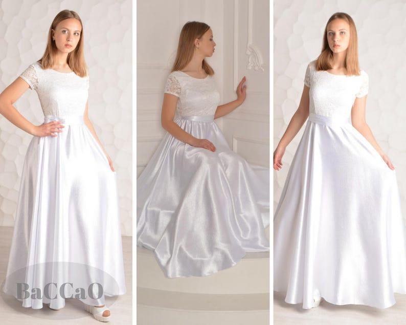 67a68ec8242e13 Długiej białej sukni strój dla kobiety suknia Maxi sukienka | Etsy
