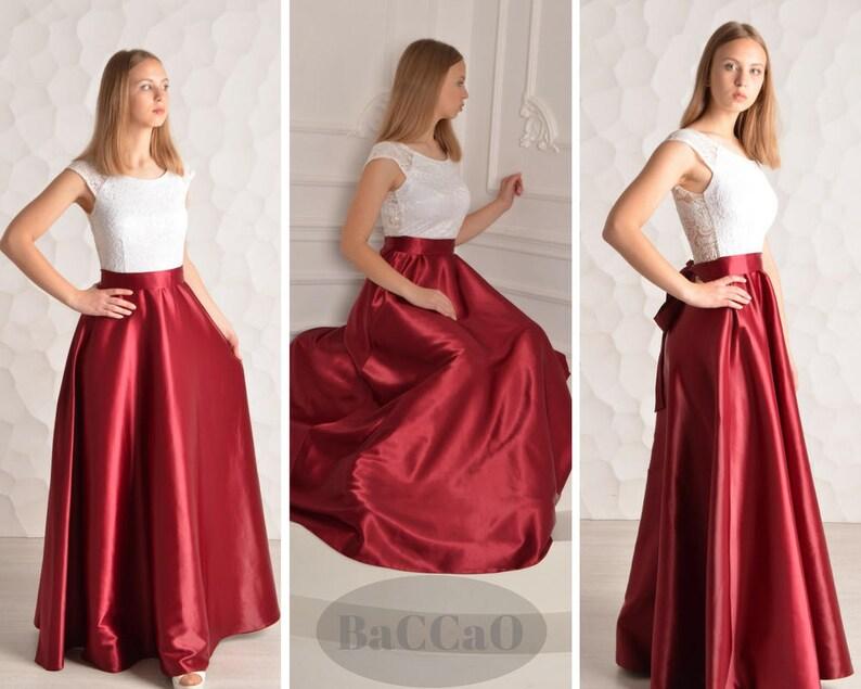 afda873c8e54 Burgundy bridesmaid dress Long bridesmaid dress White lace