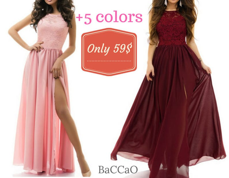 fe5512aeb9fa 5 Colors Long Bridesmaid Dresses Maxi Lace Burgundy