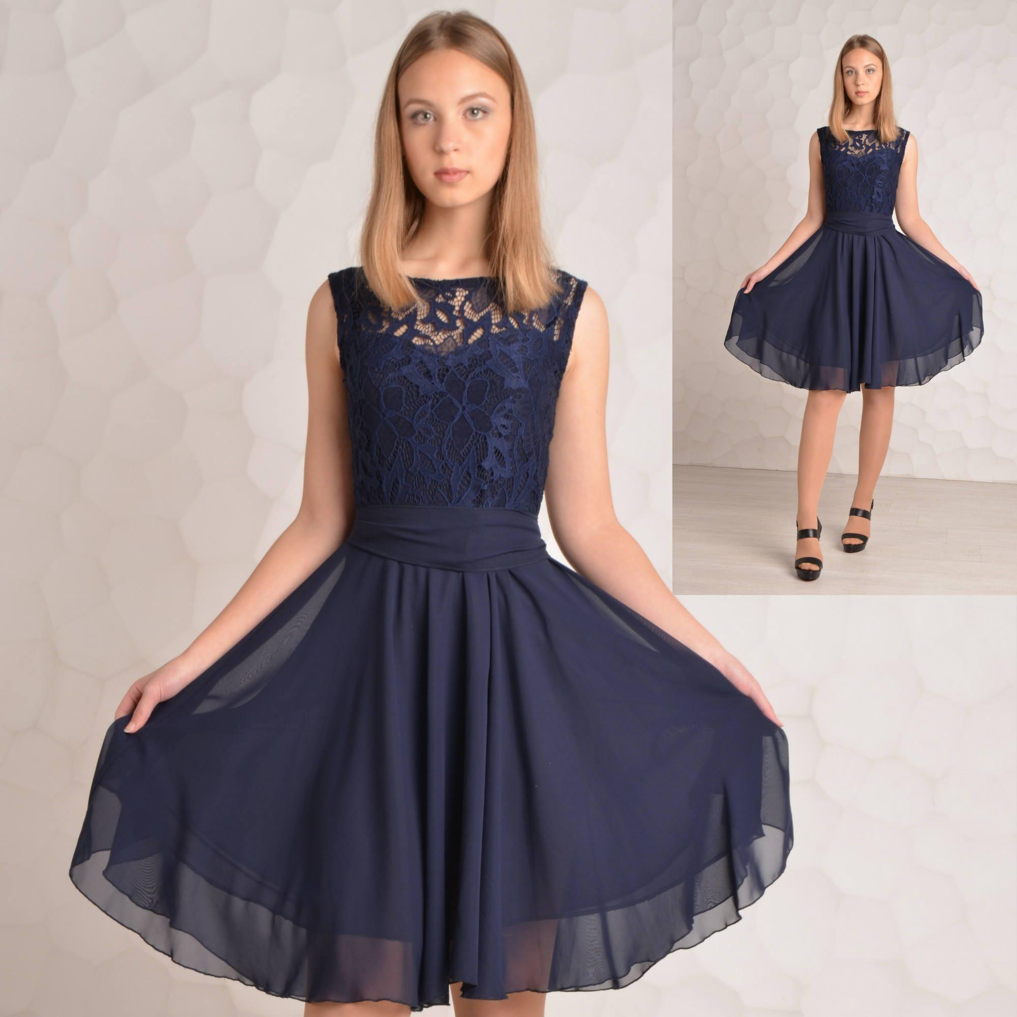97c80bd75a026 Bridesmaid dress Navy blue Cocktail dress Bridesmaid dresses Midi dress  Short chiffon dress Lace dress Navy Blue Party dress Blue dress
