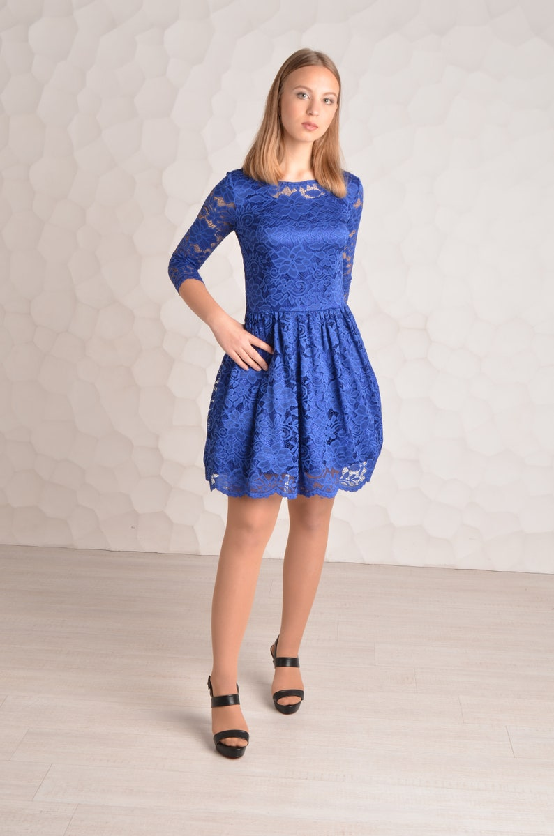 innovative design 620a7 ec379 Royal blue breve pizzo blu Royal vestito pizzo con maniche a-line Scoop al  ginocchio Prom Dress Breve Homecoming Dress con abiti di pizzo
