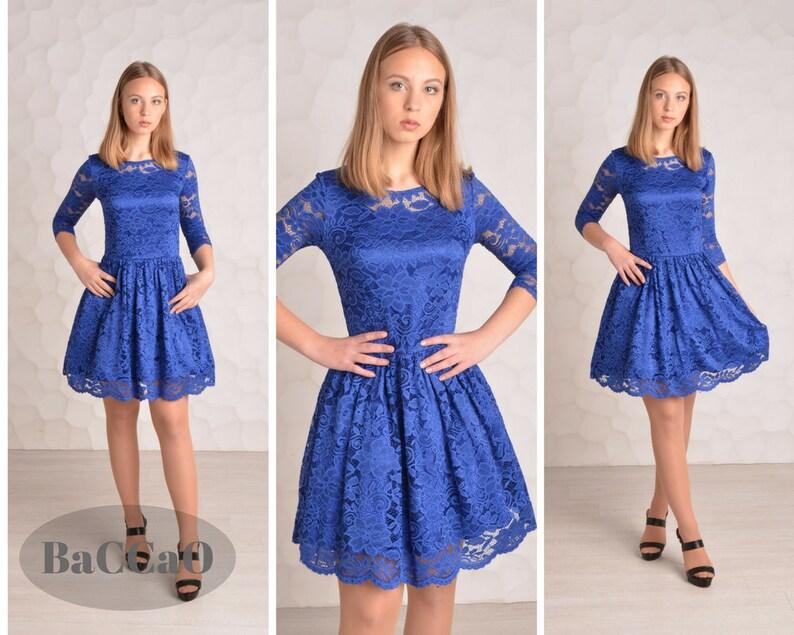 dad126a1e9f Bleu royal robe courte en dentelle robe bleu Royal dentelle