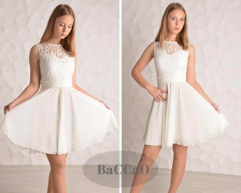 reputable site 15dcb f0f1f Kurze weiß Prom Kleid weiß Spitze Kleid weiß billig Prom Kleid weiß kurze  Heimkehr Kleid kurz Chiffon Kleid a-Linie Abiballkleider