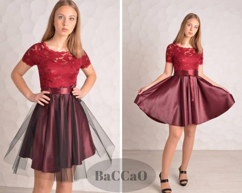664d80550b Cocktail Dress 2017 krótki Burgundy sukienka Tiul sukienka 2