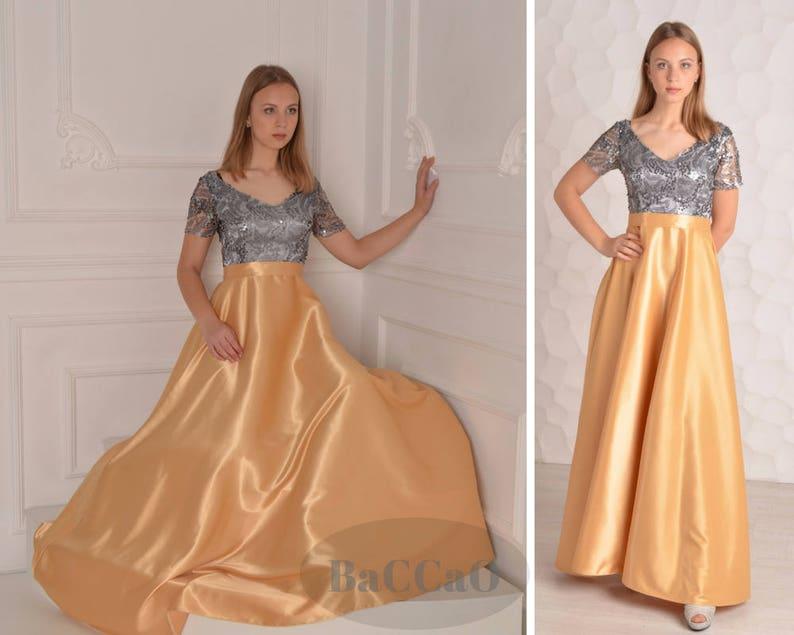 7e9a08c133 Długa suknia druhna z cekinami gorset Długa sukienka z gęstej
