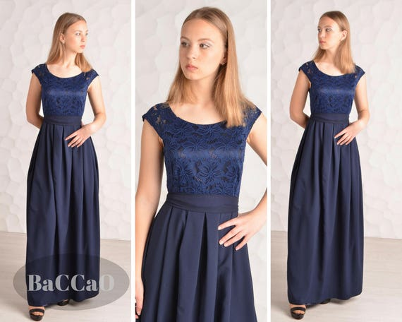 Bridesmaid Dress Lace Blue Dress Navy Blue Long Dress Blue Etsy,Garden Wedding Mother Of The Groom Dresses For Summer Outdoor Wedding