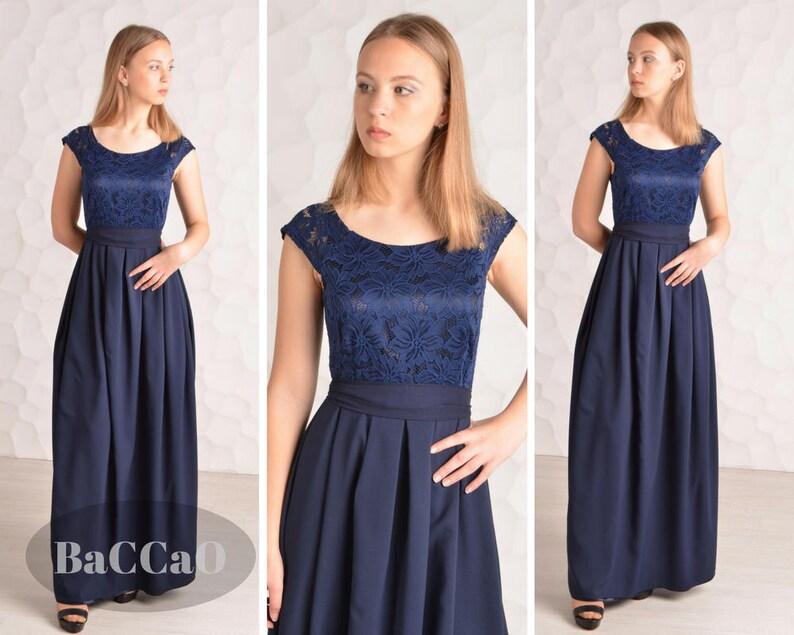Bridesmaid Dress Lace Blue Dress Navy Blue Long Dress Blue Etsy