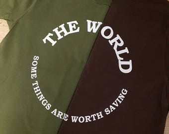 The World T shirts in fairly traded, earth friendly cotton..limited sizes only!