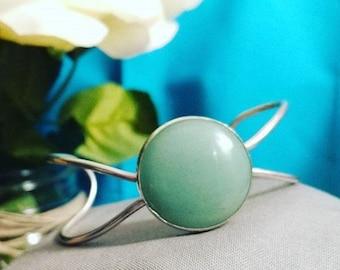 Green Aventurine Cuff * Sterling Silver Cuff * 925 * Green Stone * Handmade * Good Luck