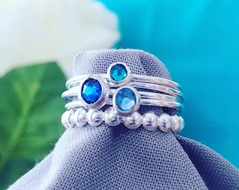 Blue Skies Ahead * Blue Crystals * Stacking Rings * 925 Sterling Silver * Handmade *Stacking Ring Set * Dainty