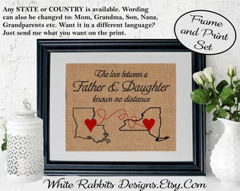 Framed Fathers Day Gift For Dad From Daughter Long Distance Father Map Birthday 5005