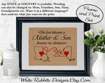FRAMED Love Between A Mother And Son Knows No Distance Burlap Wall Decor Unique Mom Gift Map Art Print Long Birthday5002