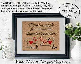 Framed Gift Long Distance Relationship Friends Family Husband Wife Mother Mom Dad Burlap Print Personalized Idea For Friend 5019