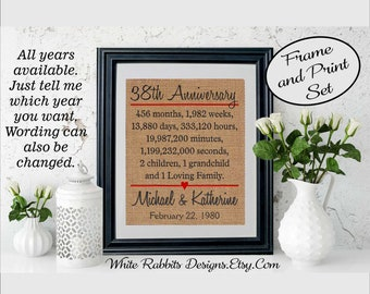 Framed 38th Anniversary Gift, 38th Wedding Anniversary Gift, Personalized 38th Anniversary Gift, Anniversary Gift for Husband or Wife (5338)