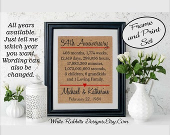 Framed 34th Anniversary Gift, 34th Wedding Anniversary Gift, Personalized 34th Anniversary Gift, Anniversary Gift for Husband or Wife (5334)