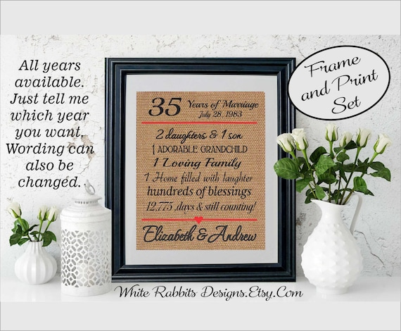 Framed 35th Wedding Anniversary 35th Anniversary Gifts 35th Etsy