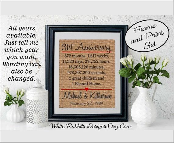 31st Wedding Anniversary Gifts: Framed 31st Anniversary Gift 31st Wedding Anniversary Gift