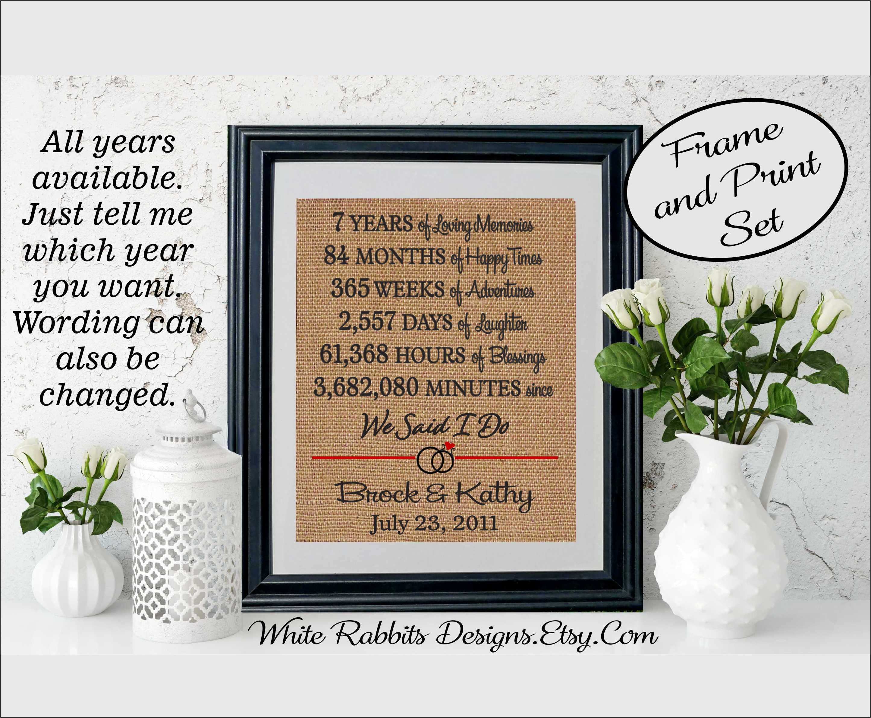 7th Wedding Anniversary.Framed 7th Wedding Anniversary 7th Anniversary Gift For Wife Gift For Husband Anniversary Gift To Wife Gift To Husband Gift Wife 5507