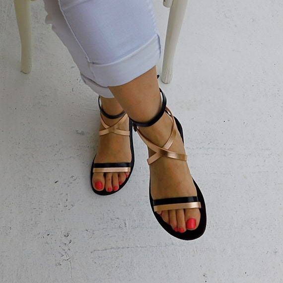 Black leather sandals Ladies Leather Sandals sandals Sandals sandals sandals BOHO sandal flat Gold strap Comfortable Ankle sandals tqd4w4Zfx