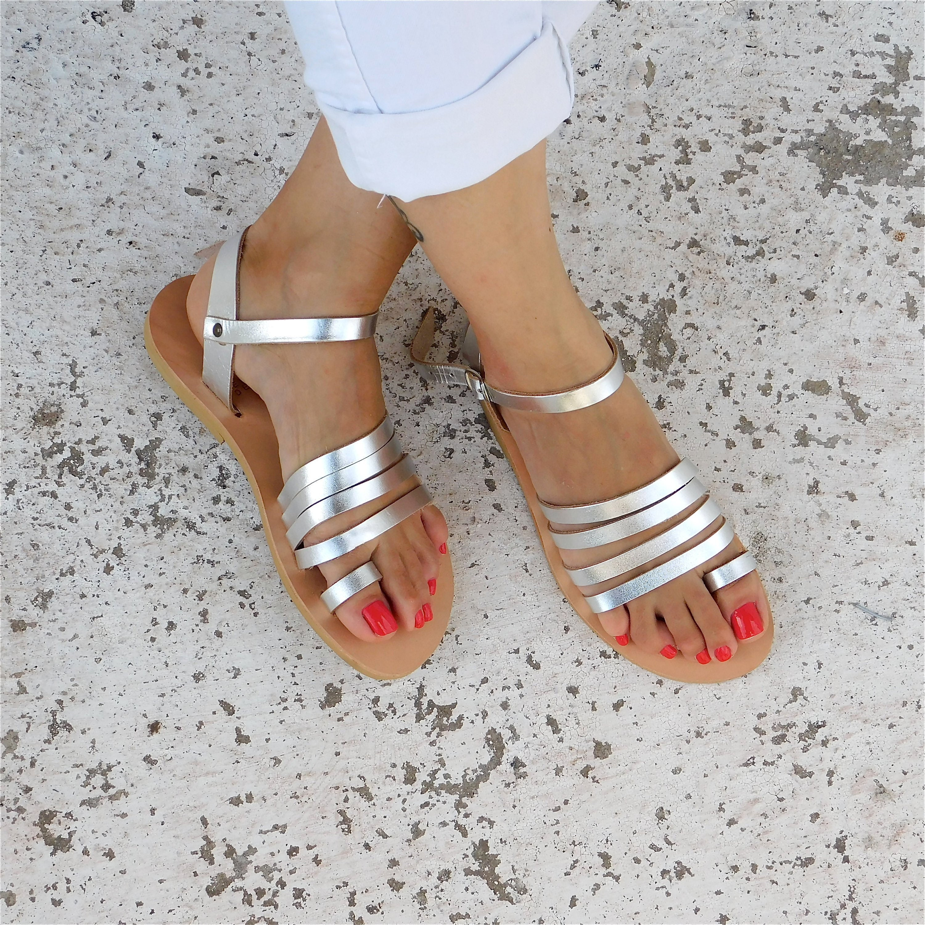 Comfortable Sandals, Strappy sandals, Greek Sandals, BOHO Sandals, Wedding sandals, Silver Sandals, Metallic Leather sandals, Leather flats