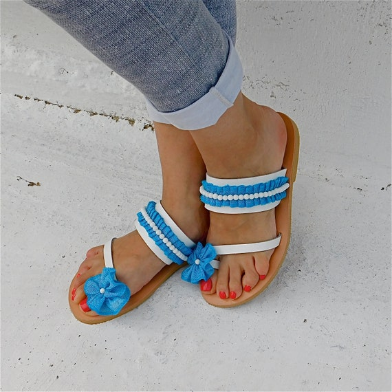 Leather Sandals flats Blue Comfortable sandals Sandals white Wedding Sandals Greek BOHO sandals Sandals sandals Decorated qU7PEUw