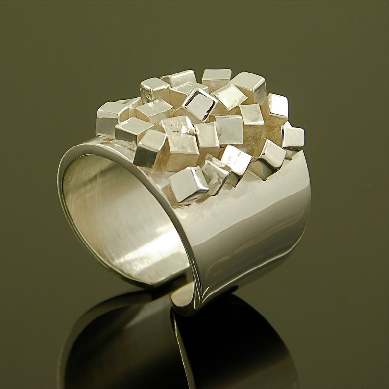 Industrial art ring Contemporary ring Cubic ring Wide statement ring Architectural ring Sculpture ring Geometric ring Art deco ring