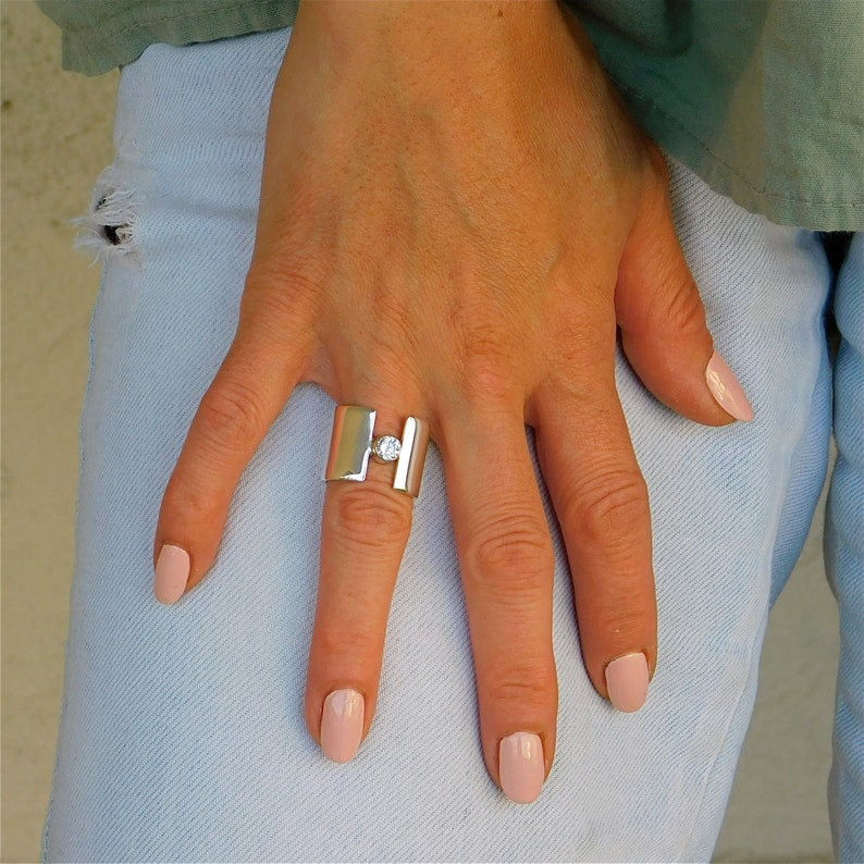 Wide ring 15MM Silver ring for woman Solid silver band ring Single stone ring Open band ring Statement ring silver Wide gemstone ring