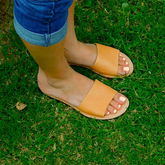 Tan back Boho Tan leather Beach sandals Flat Sandals sandals Summer sandals sandals comfortable Slide sandals sandals Sandals Greek fI0vW0S