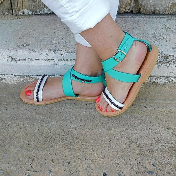 sandals sandals Sandals Decorated Gemstone Ankle sandals sandals sandals Greek strap BOHO flat Wedding Comfortable sandals sandals qw0zH