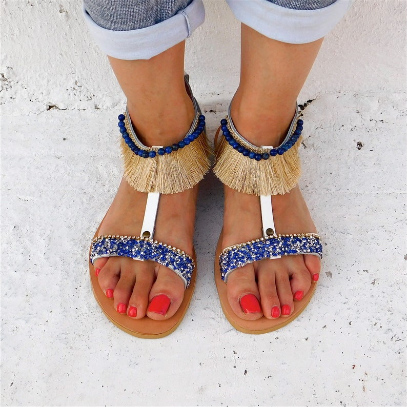 6bb104bd6 BOHO Sandals Decorated sandals T strap sandals Wedding