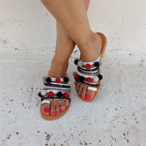 29ecf5a5dfe87 sandals sandals sandals sandals toe colorful pom ring Decorated ...