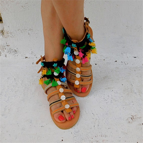beach Greek sandals ethnic Gladiator sandals sandals sandals Summer women Tassel sandals sandals sandals hippie sandals boho sandals BwEEUPq5