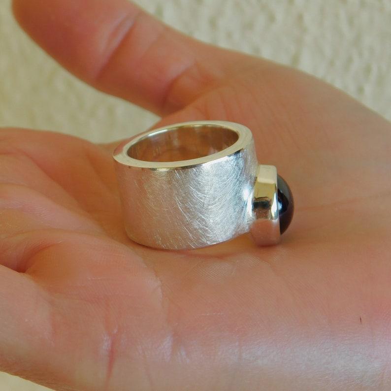 Brushed ring Ring for women Band ring Garnet ring Cocktail ring Big gemstone ring Red stone ring Statement ring Wide ring Band ring