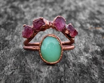 Chalcedony Ring | Rough Ruby Ring | Brass Ring | Brass Jewelry | Handmade Ring | Ring For Her | Ring For Women | Gift For Women | Gift Item