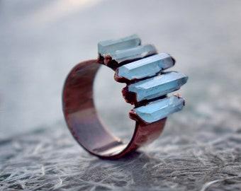 Aquamarine Ring, Rough Stone Ring, Pencil Shape Ring, Statement Ring, Multi stone Ring,March Birthstone Ring For Women, Handmade Ring, Gift