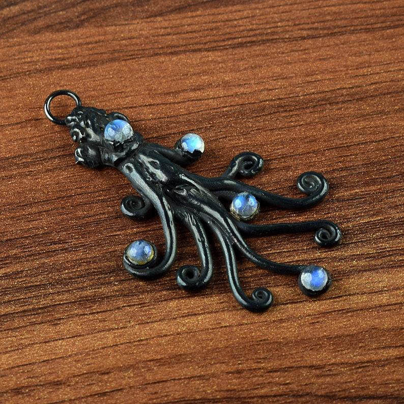 Gift For Her Pendant For Women GFS3098 Black Polish Pendant For Her Labradorite Pendant Octopus Shape Pendant Gift For Women