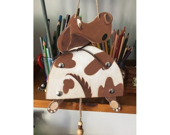 Pull Puppet, Spotted Doggie  painted wood