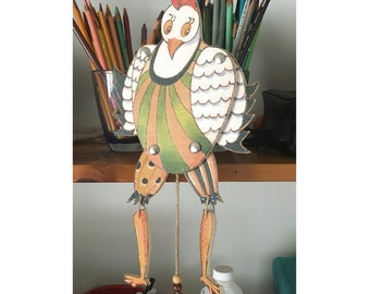 Pull Puppet Chicken, painted on wood