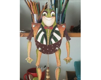 Pull Puppet Frog , painted wood, short jacket