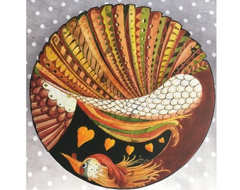 """Lazy Susan Whimsy Rooster first   18 inch x 3.5"""""""