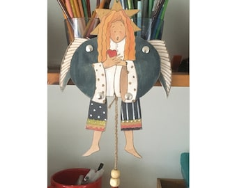 Pull Puppet Blue Angel, painted on wood
