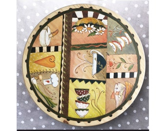 """Lazy Susan Made with Love Blue2 18"""" x 3.5"""" high"""