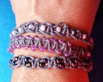 Triple wrap, hemp, beaded, bracelet, handcrafted, knotted, braided