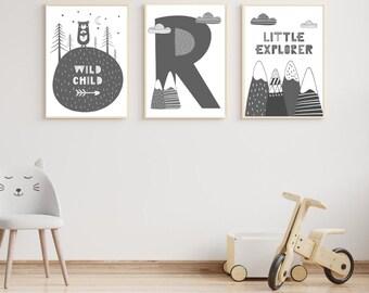 Little Explore/Wild Child/Letter prints trio