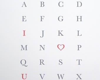 Alphabet Letterpressed art print Romantic Love