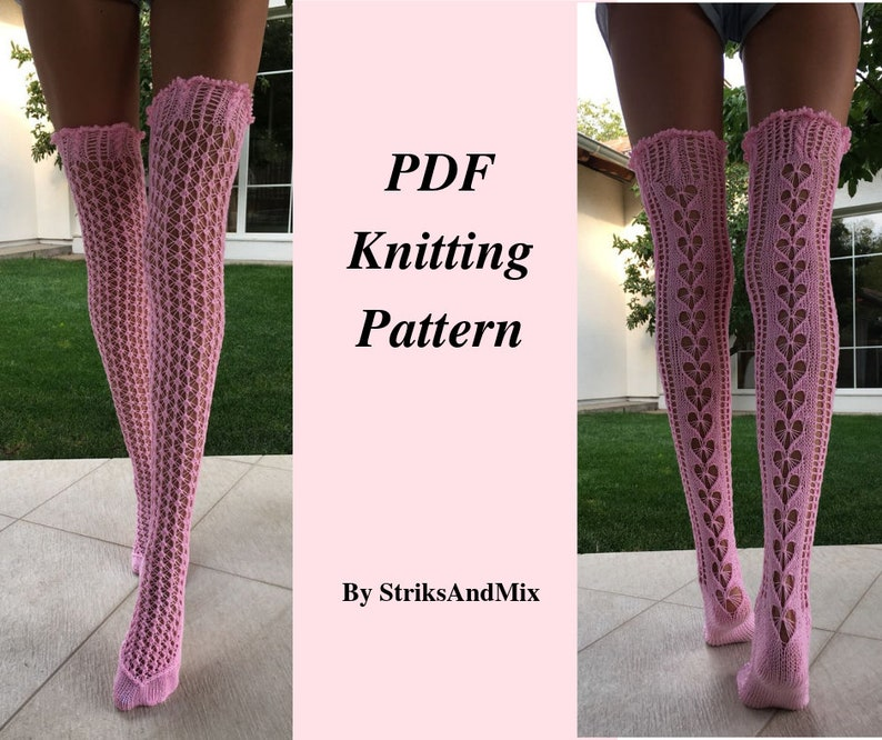 87937334a Knitting Pattern For Pink Lace Thigh High Socks With Hearts