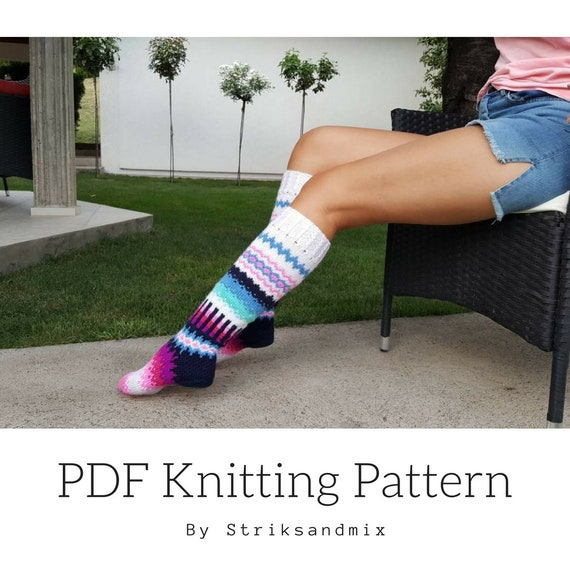 Instant Download PDF Pattern Knee Socks with Roses