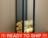 ELEGANT WALL FIREWOOD rack with wall protector/ steel sieve