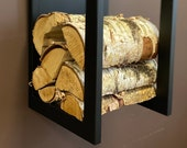 ELEGANT WALL FIREWOOD rack with wall protector/ metal plate
